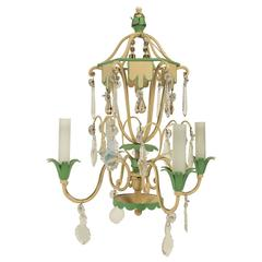 Very Pretty Small Chandelier from the 1950s in Painted Metals and Crystal