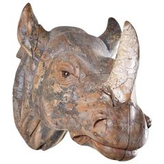 Very Rare Finely Carved Head of Rhinoceros