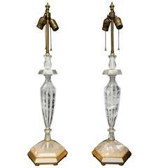 Fine Pair Gilt Rock Crystal Modern Jansen Transitional Baguès Vintage Lamps
