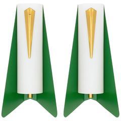 Unique Pair of Stilnovo Style Modernist Sconces, 1950s