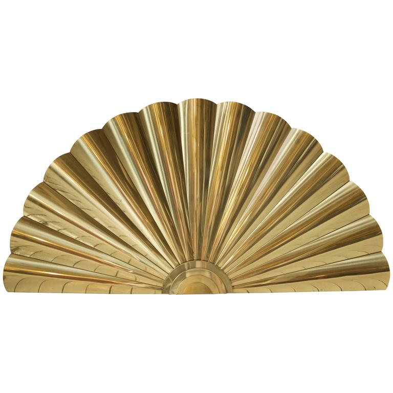 "Large Polished-Brass ""Sunburst"" Wall Sculpture by Curtis Jere, 1989"
