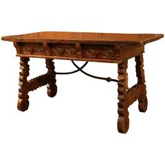 18th Century Spanish Carved Walnut Table Desk with Drawers and Iron Stretcher