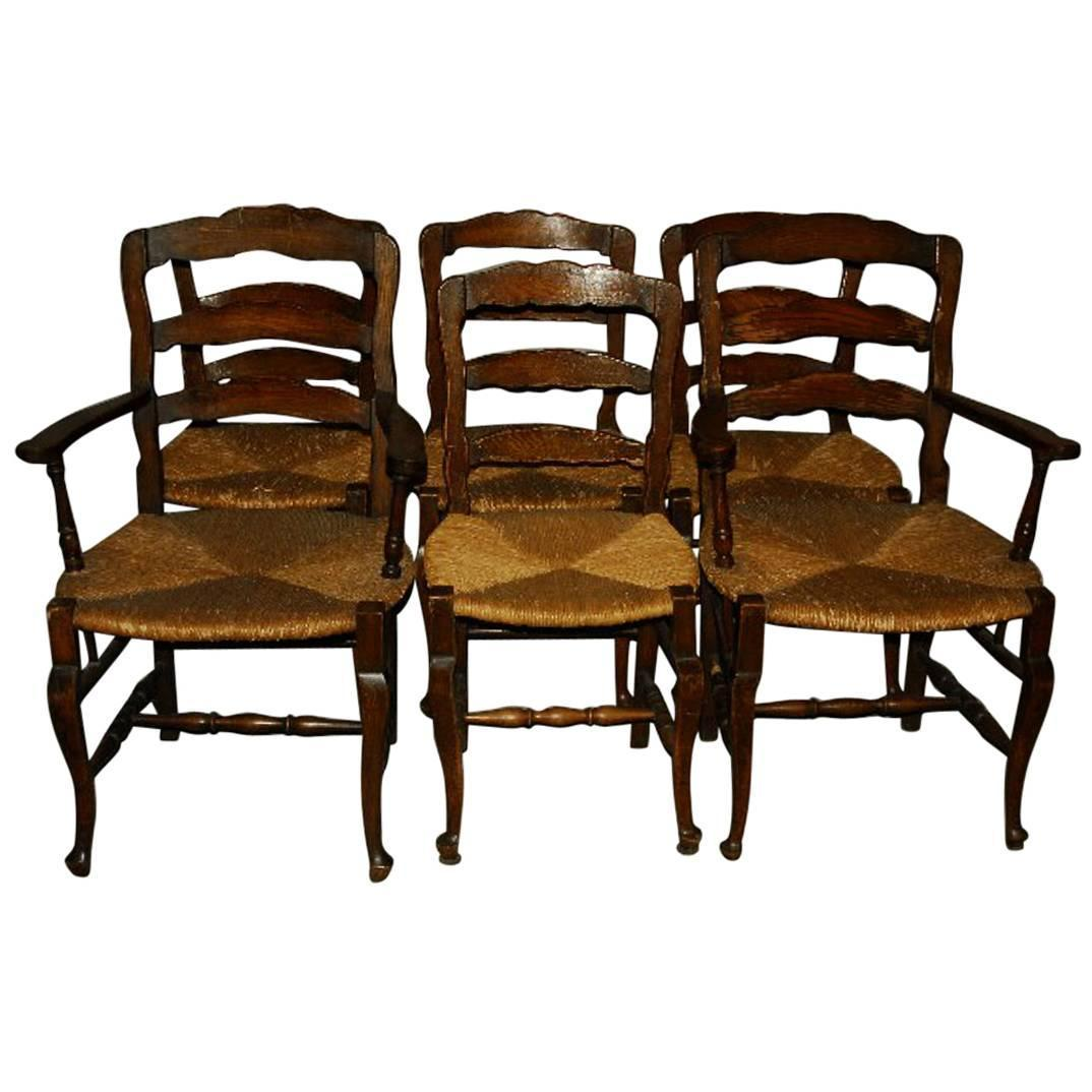 Set of six 19th century country french ladder back dining chairs at 1stdibs - Ladder back dining room chairs ...