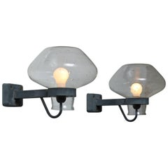 Pair of Gunnar Asplund Metal and Glass Wall Sconces, Sweden, 1950s