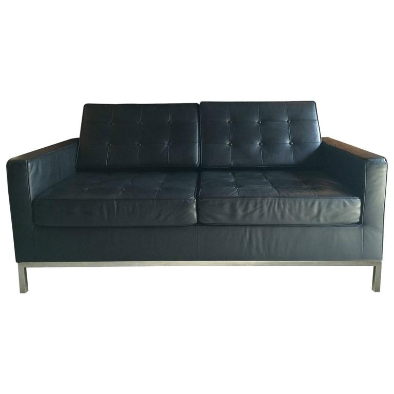 florence knoll style two seat sofa settee black leather at. Black Bedroom Furniture Sets. Home Design Ideas