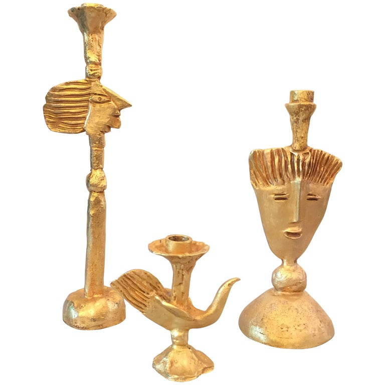 Set of 3 Tiered Gilt Bronze Candleholders by Pierre Casenove for Fondica For Sale