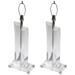 Pair of Tall Faceted Lucite Lamps with Nickel Details