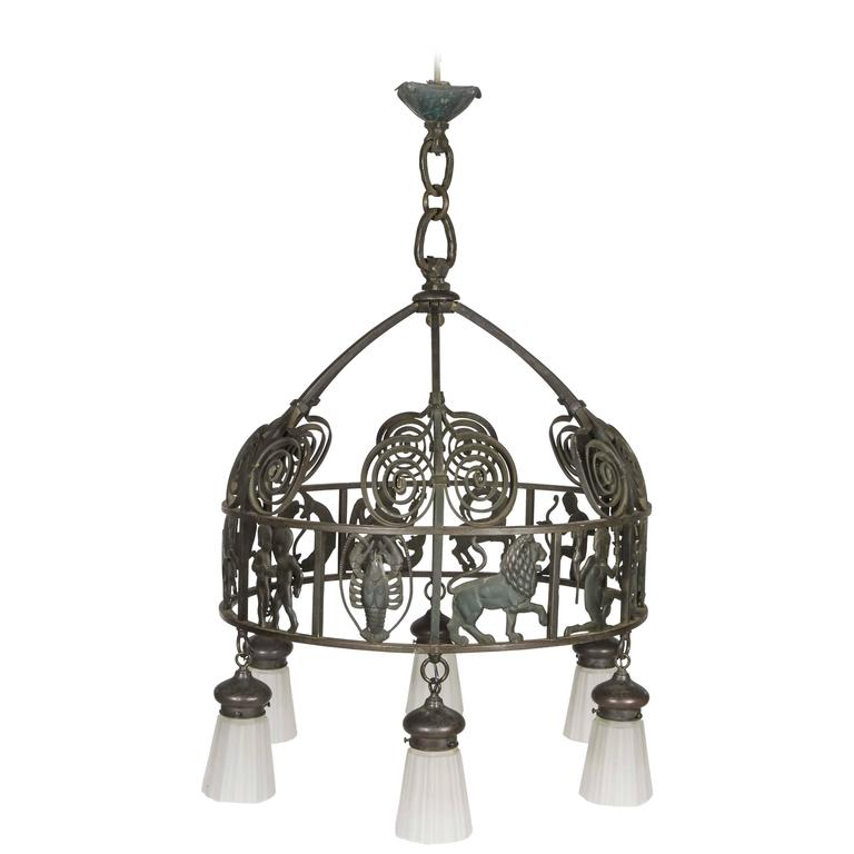Handcrafted Vintage Iron Zodiac Chandelier For Sale At 1stdibs