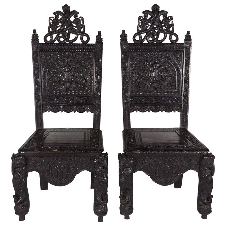 Superb 19th Century Carved Anglo Indian Chairs For Sale