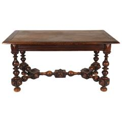 Wood Table with Ornate Legs