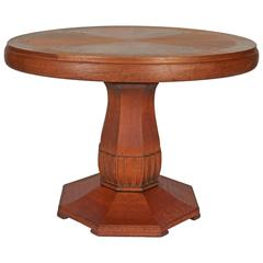 English Country House Center Table with Round Top
