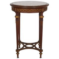 Französischer Tisch Guéridon aus Mahagoni Platte aus Marmor Bronzebeschläge