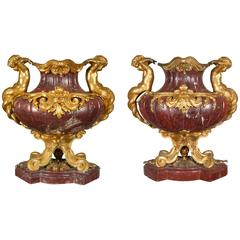 Large Pair of French Ormolu-Mounted Rouge Marble Vases F. Barbedienne Attributed
