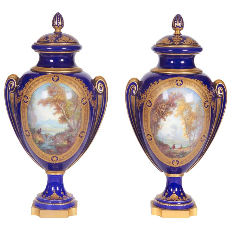 Pair Of Napoleon Iii Sevres Porcelain Cobalt Blue Vases And Covers
