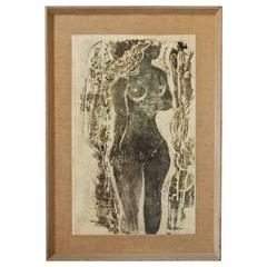"""""""Young Girl"""" an Early Clay Lithograph by Syd Solomon, 1957"""