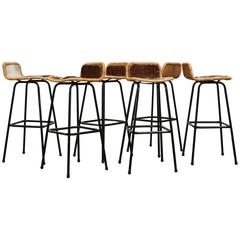 Set of Six Charlotte Perriand Style Wicker Bar Stools with Cow Hide