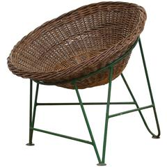 Jacques Adnet Style Woven Basket Chair