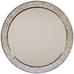 Art Deco Style L'Oeuf Mirror w/ Hand-Cracked Eggshell and Lacquer Frame