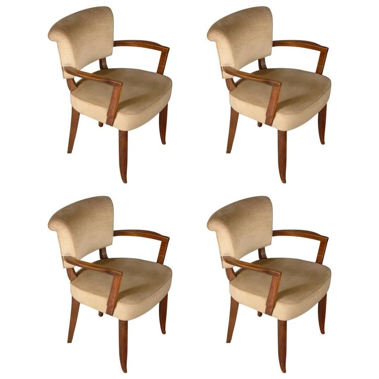 Jules Leleu Pair of Roll-Back Armchairs