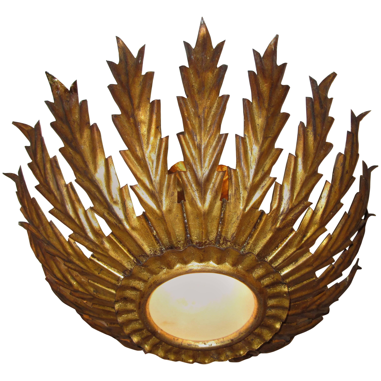 French Gilt Metal Sunburst Ceiling Light