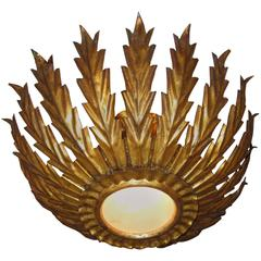 French Gilt Metal Sunburst Ceiling Light