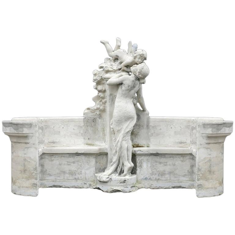 Monumental French Cast Stone Figural Bench, 19th Century For Sale