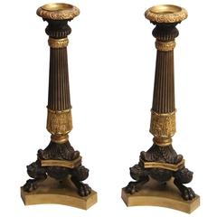Pair of French Neoclassical Style Bronze and Ormolu Candlesticks