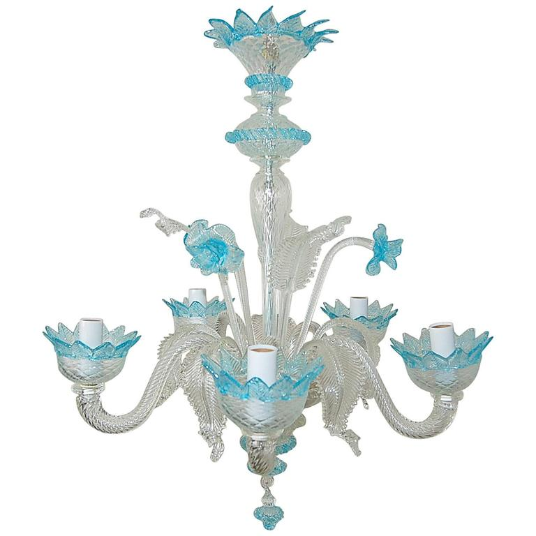 Murano Tulip Chandelier: Chandelier Murano Glass Of Crystal With Blue Accents For