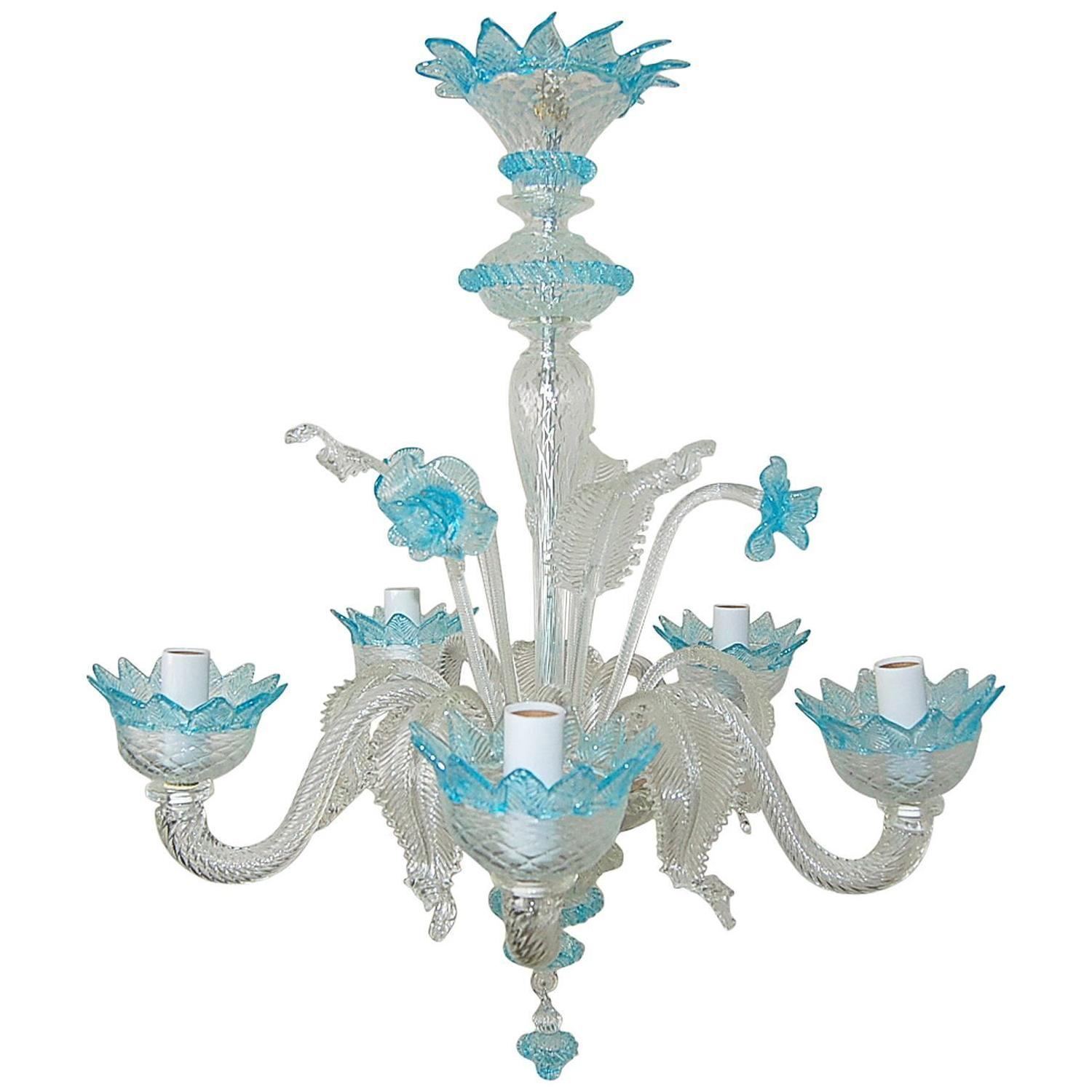 Chandelier Murano Glass of Crystal with Blue Accents at 1stdibs