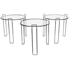 Modern Chrome and Glass Nesting Tables by Saporiti