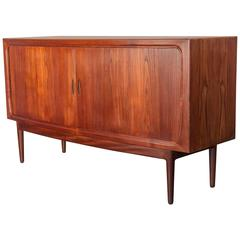 1950s Bow Front Credenza with Tambour Doors