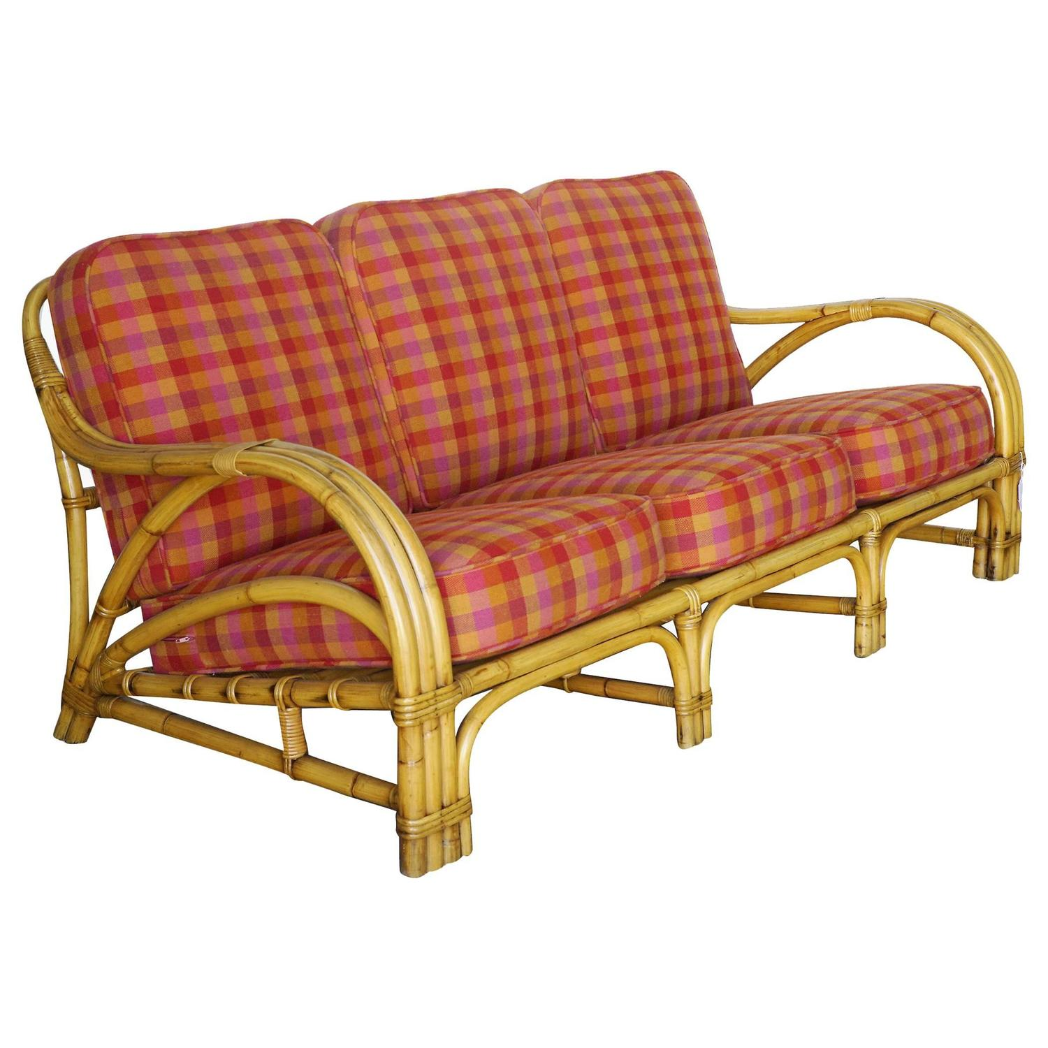"""Used Cane Sofa For Sale In Bangalore: Tropical """"1940s Transition"""" Three-Seat Rattan Sofa For"""