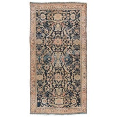 Antique Persian Sultanabad Rug, Handmade Wool Oriental Rug, Navy Blue