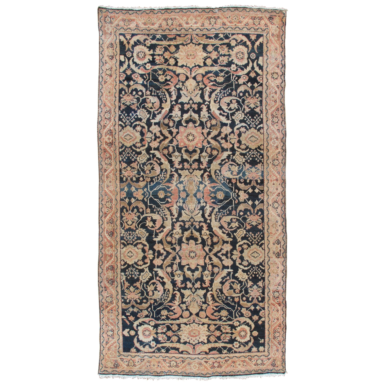 Antique Persian Sultanabad Rug, Handmade Wool Oriental Rug, Navy Blue