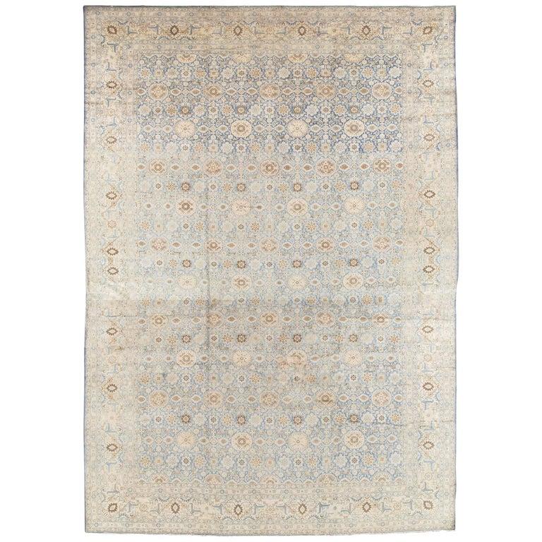 Antique Persian Tabriz Carpet, Pale Light Blue and Beige Carpet, Allover design For Sale