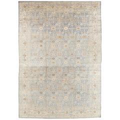 Antique Persian Tabriz Carpet, Pale Light Blue and Beige Carpet, Allover design