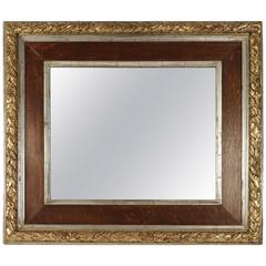 19th Century Mirror en Wood and Gesso in Silver with Original Mercury Mirror
