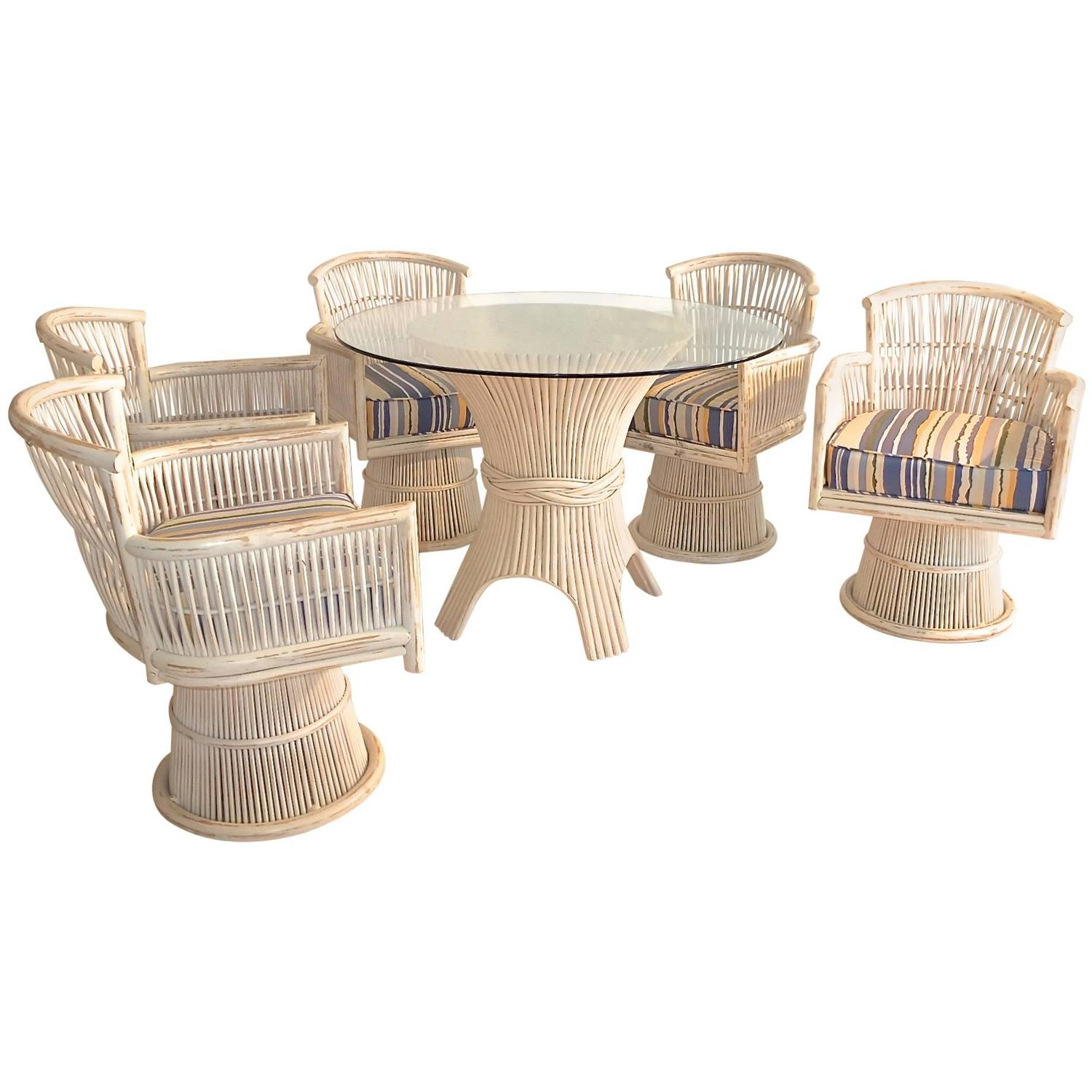Mcguire bamboo sheaf dining table and five swivel chairs for Dining room table with swivel chairs