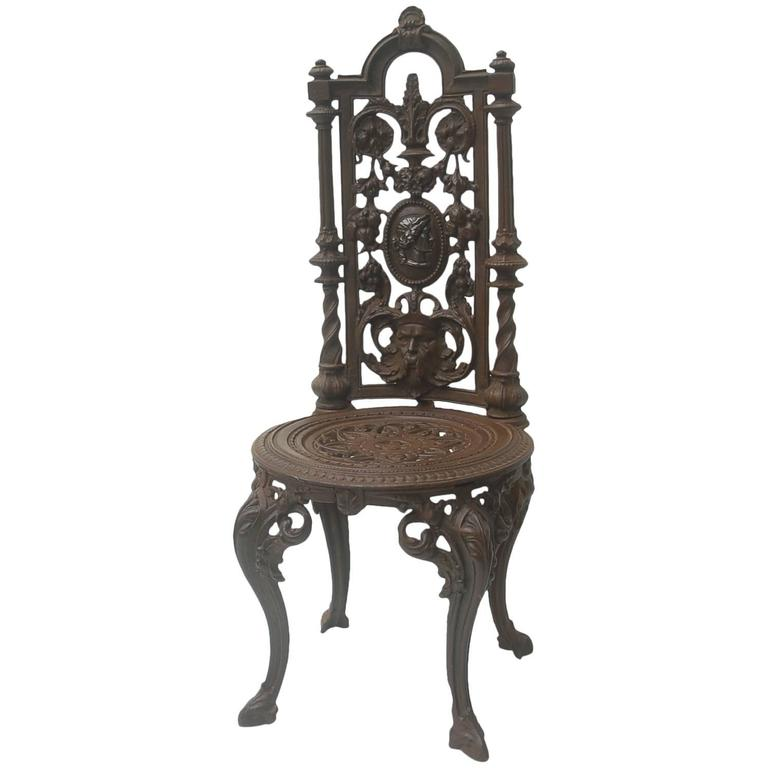 19th Century Napoleon III Cast Iron Chair For Sale