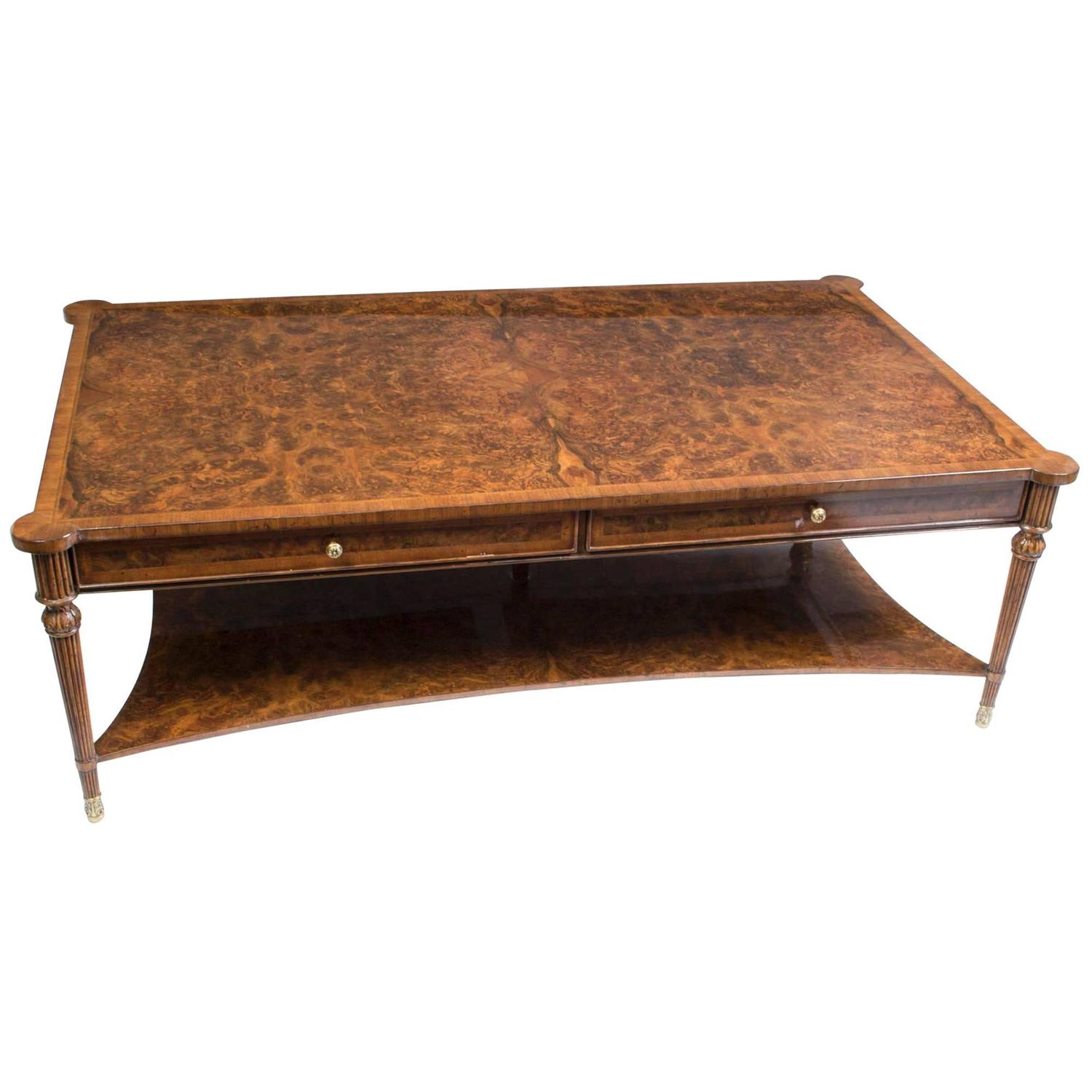 Elegant Burr Walnut Coffee Table With Two Drawers For Sale At 1stdibs