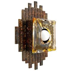 Brutalist Sconce, Bronze and Glass, 1970s