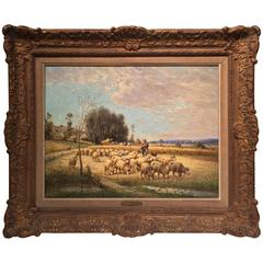 19th Century French Oil Painting with Sheep Signed Charles Clair in Ornate Frame
