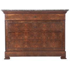 French 19th Century Louis Philippe Mahogany Drop Front Desk with Marble Top