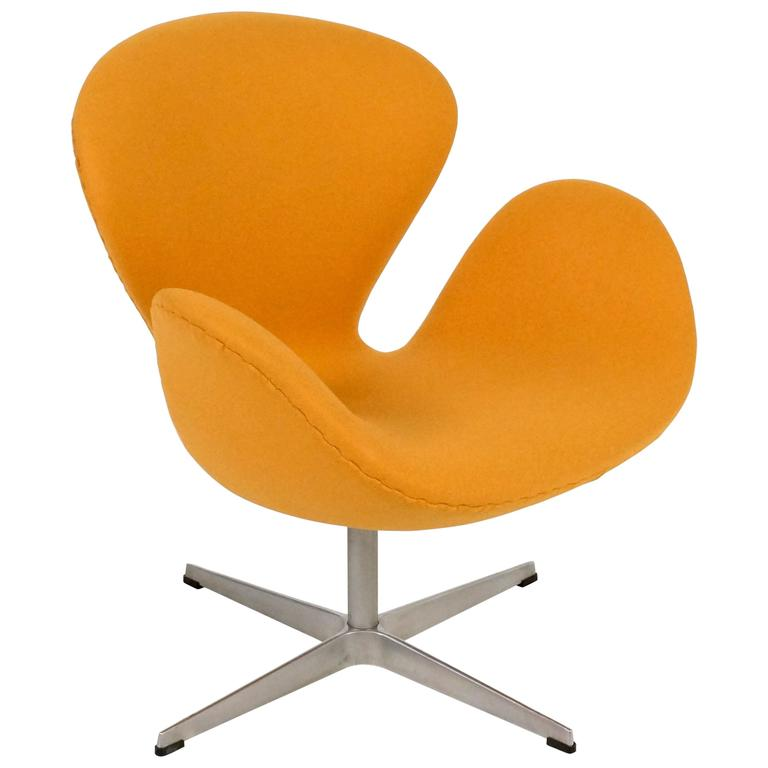 Yellow Swan Chair Jacobsen on Swivel Base 1