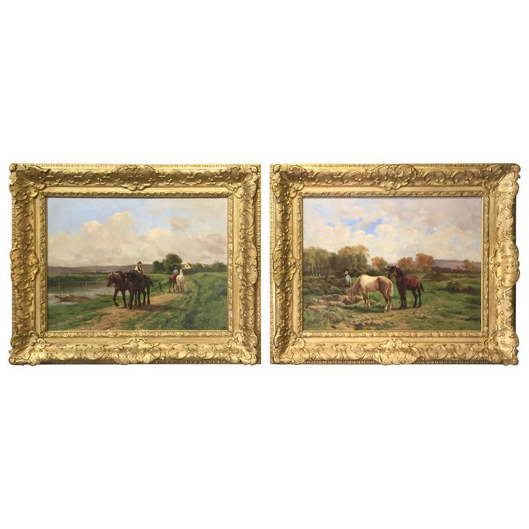 Pair of Antique French Horse Paintings by Quinton
