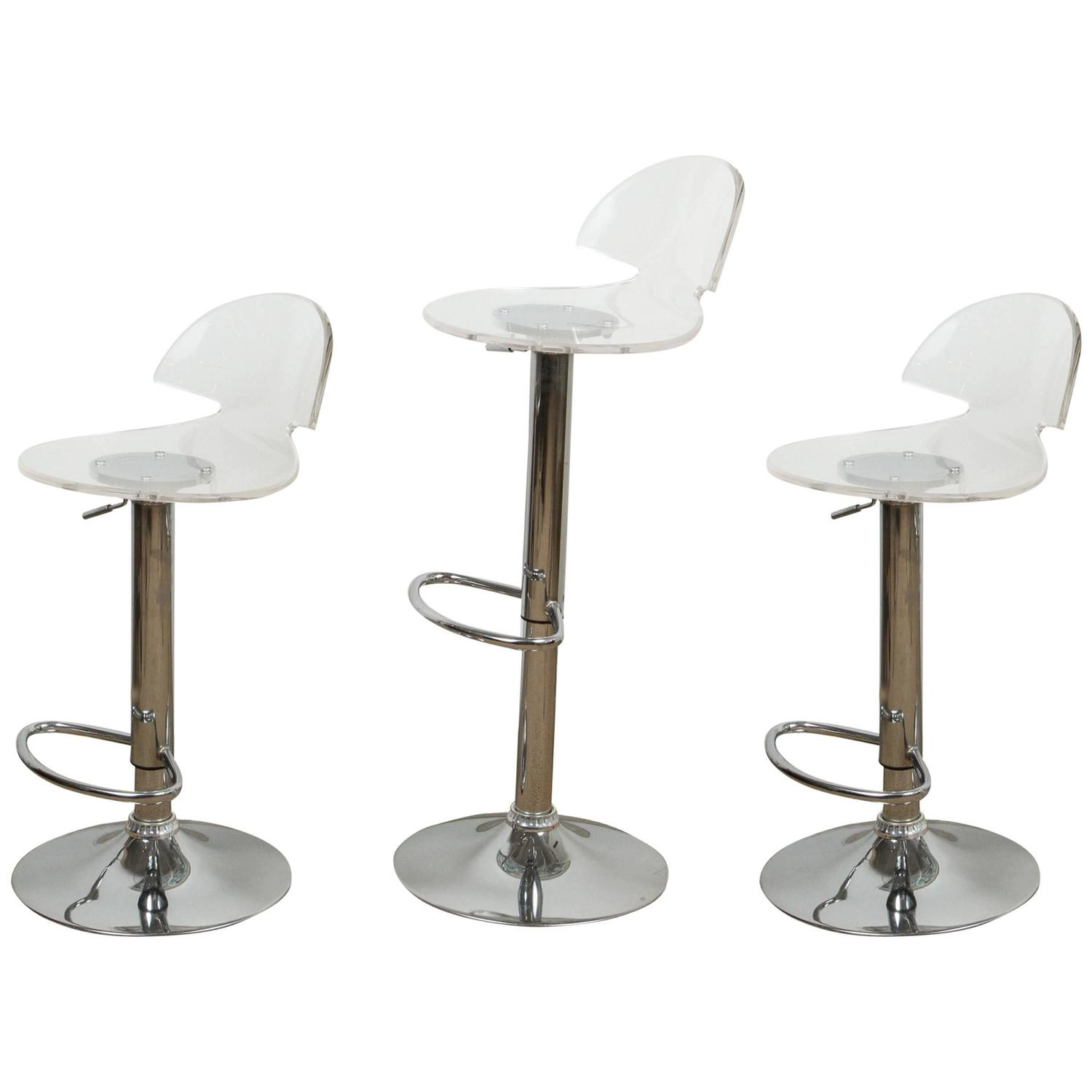 Set Of Three Chrome And Lucite Bar Stools At 1stdibs