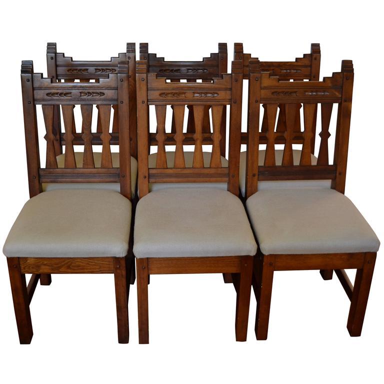 Arts and crafts adirondack dining chairs set of six for Arts and crafts dining room set