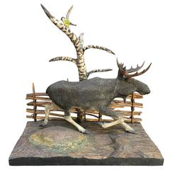 19th Century Folk Art Centerpiece of Moose
