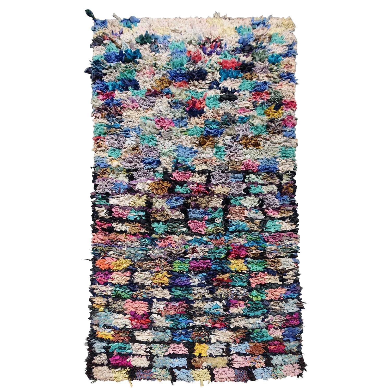 20th Century Moroccan Berber Boucherouite Rag Rug For Sale