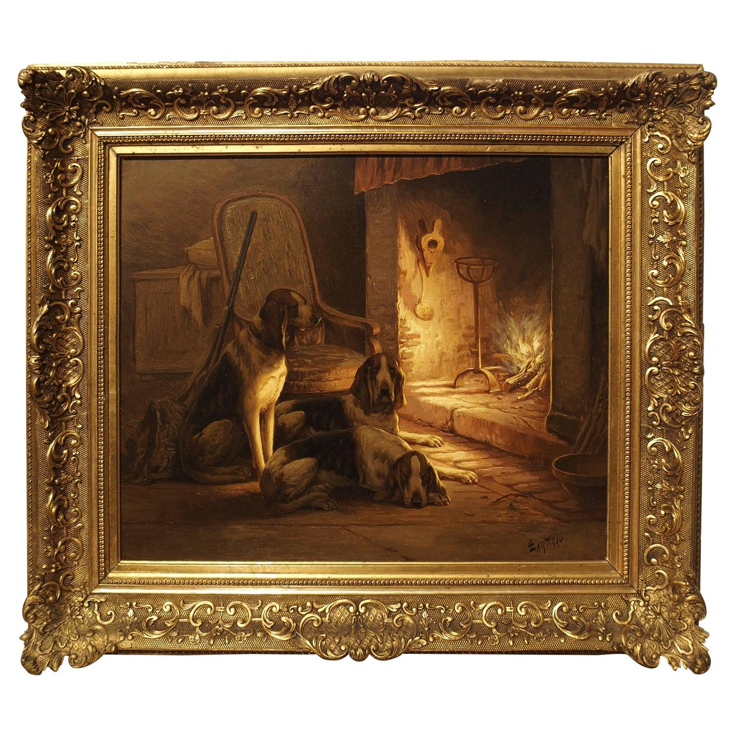 signed antique oil on canvas dogs by fireplace 19th century at